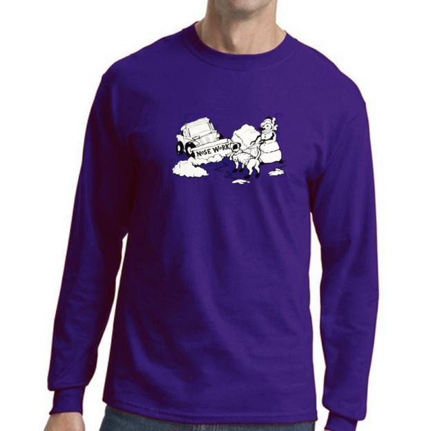 """2fdef85d227e T-shirt – 100% Cotton, Long Sleeve: Silkscreened with Nose Work """"Snowplow"""""""