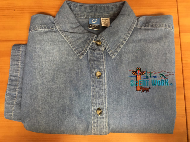 Denim Shirt Short Or Long Sleeve Embroidered With Dog Scenesport