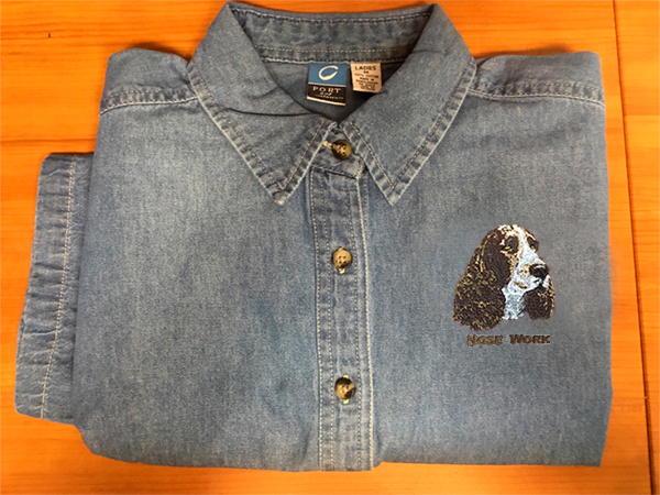 88e17120d713 Denim Shirt – Short or Long Sleeve: Embroidered with Dog Breed/Sport ...